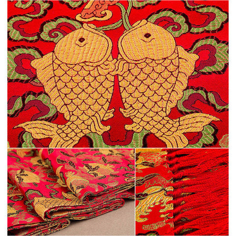 Finest nature silk handmade red embroidered bouncing carps nanjing brocade scarf
