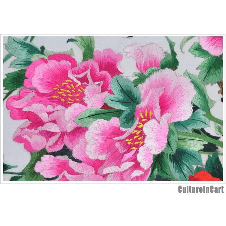 Hand Embroidery Golden Pheasant and Peony Scroll - cultureincart.com