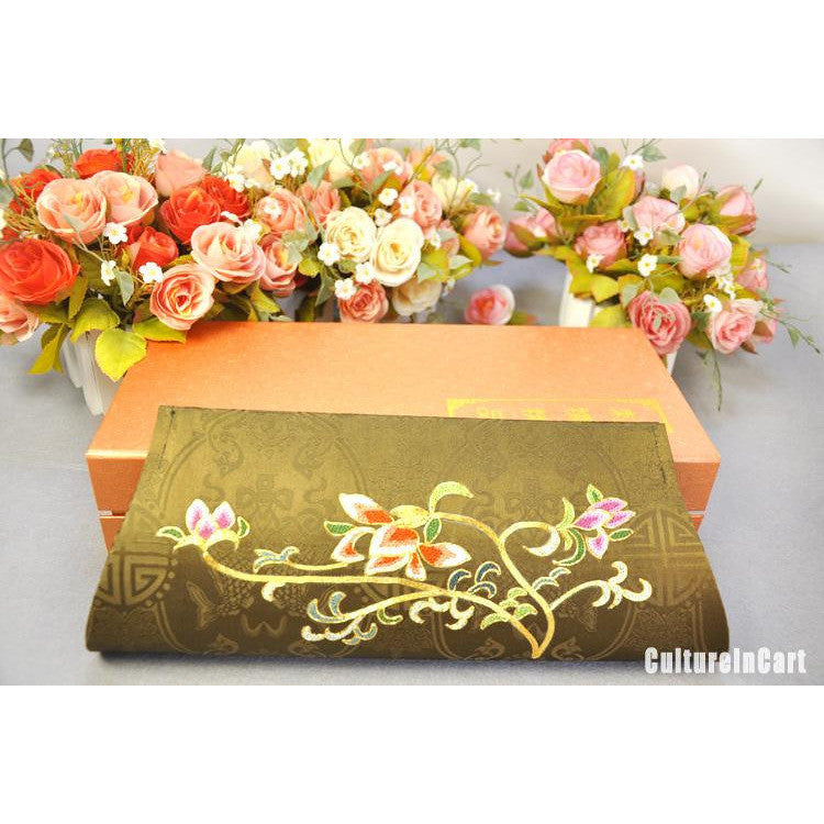 Golden Orchid Hand Embroidery Handbag