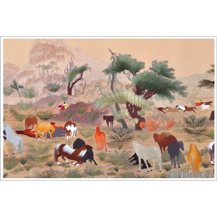 """One Hundred Horses"" Suzhou Embroidery Scroll"