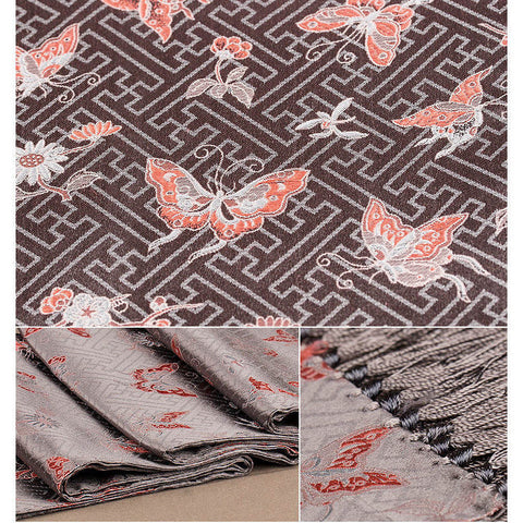 Finest nature silk handmade grey embroidered butterfly nanjing brocade scarf