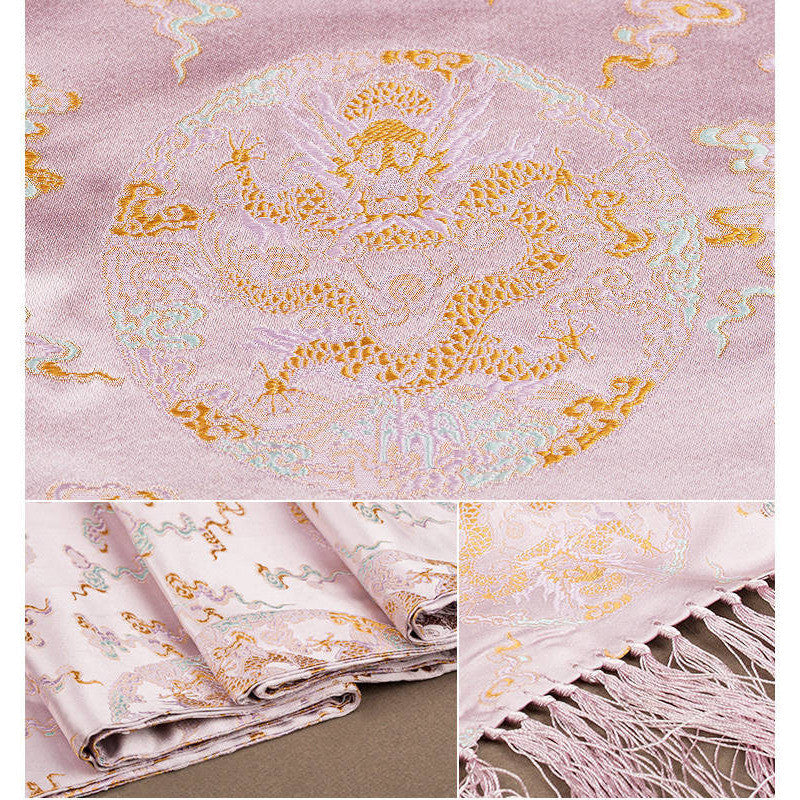 Finest nature silk handmade pink embroidered dragon nanjing brocade scarf - cultureincart.com