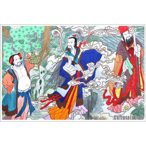 Eight Immortals Suzhou Embroidery Scroll