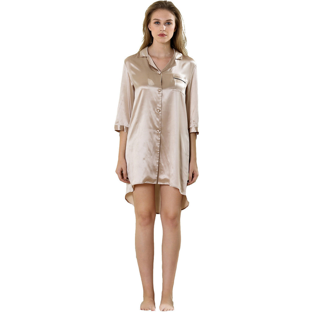 Swallowtail high-low sleepshirt/robe 19 Momme 100% silk satin
