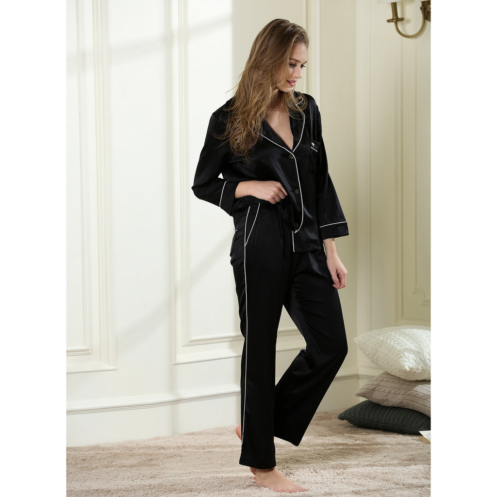 Enchanted long pajama set 19 Momme 100% silk satin - cultureincart.com