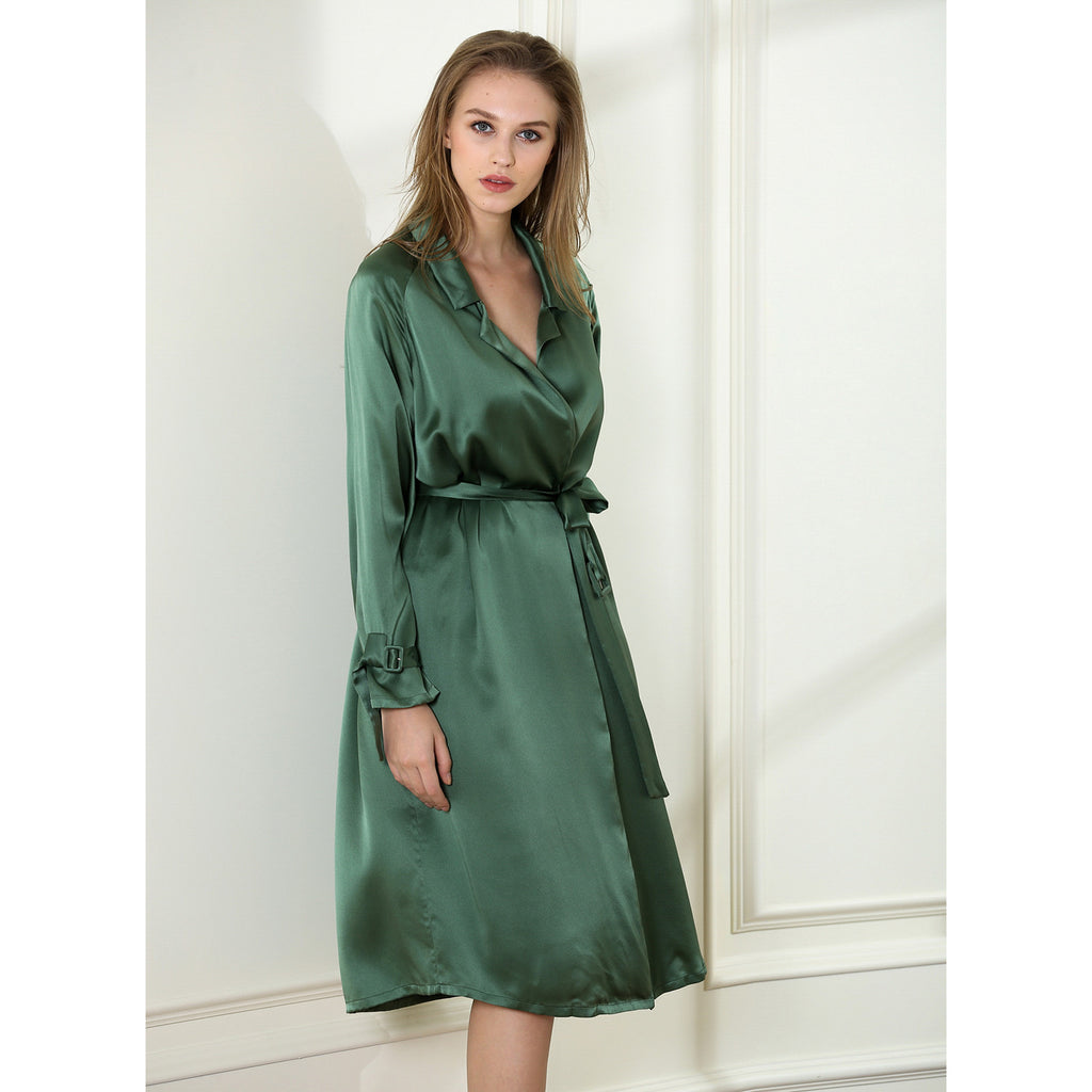 Venetian Balm night robe 19 Momme 100% silk satin