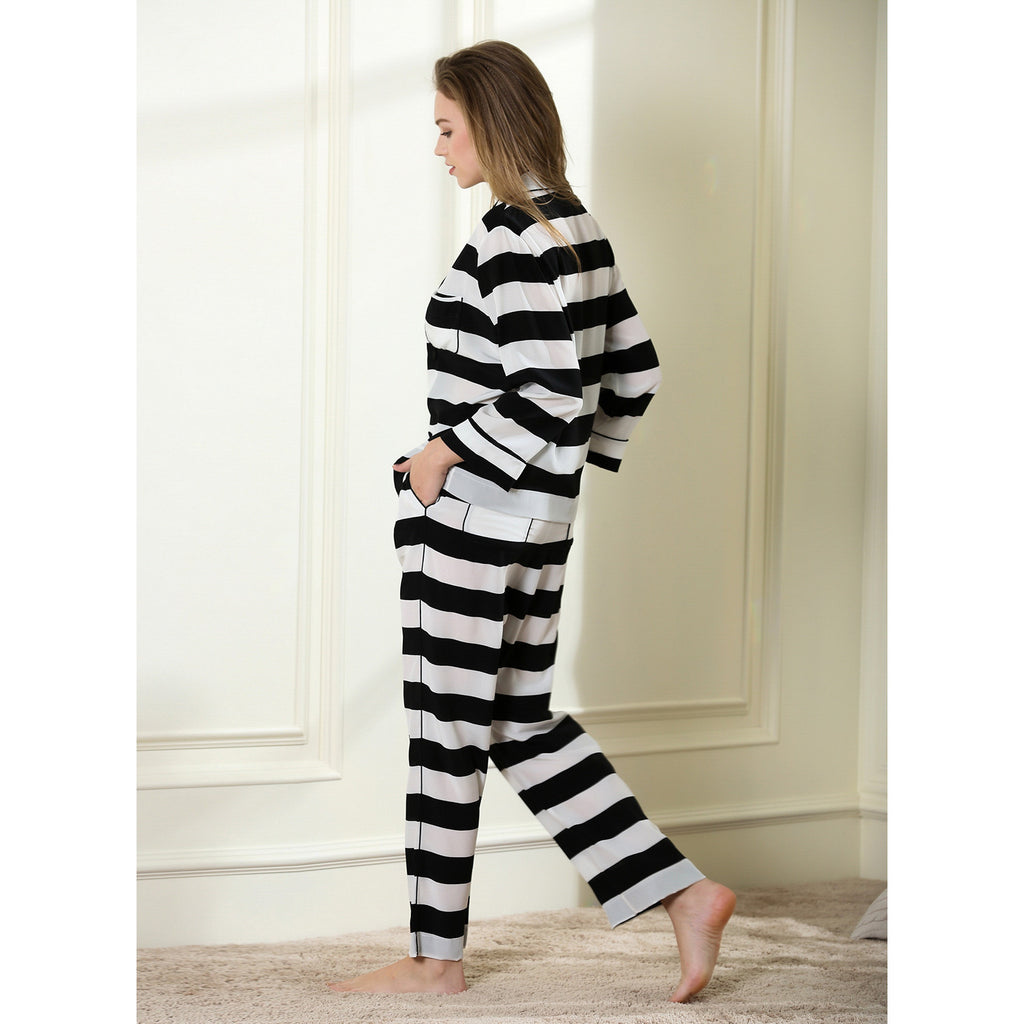 Bold stripe long pajama set 14 momme 100% silk crepe