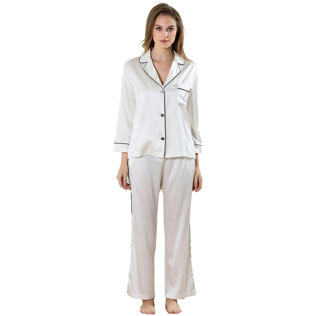 Michelia alba nightwear set 19 momme 100% silk Charmeuse