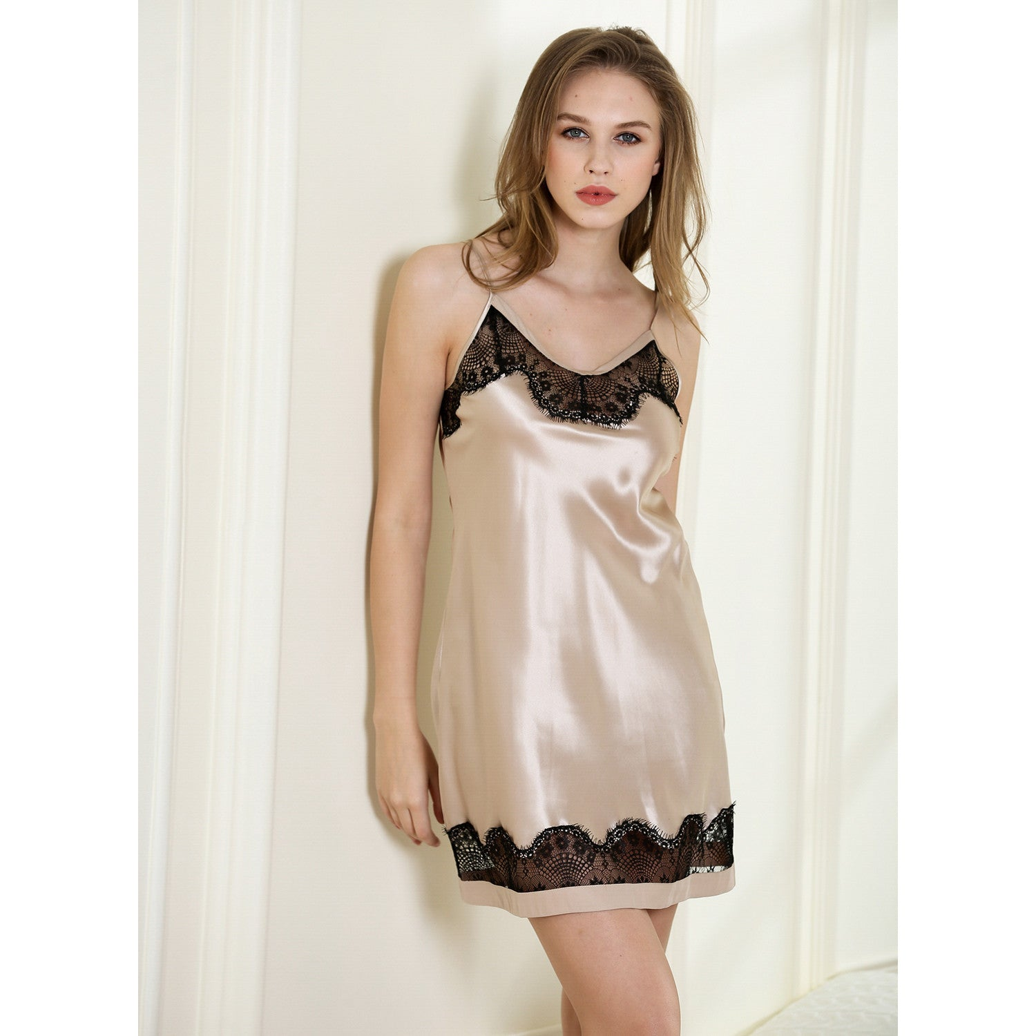 Yours Always contrast lace mini slip 19 Momme 100% silk satin
