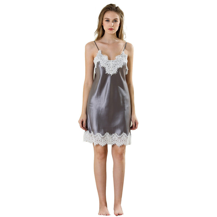 Lovely Esther lace mini nightgown 19 momme 100% silk satin - cultureincart.com