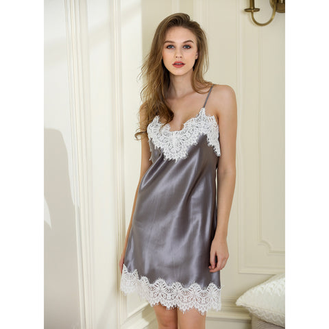 Lovely Esther lace mini nightgown 19 momme 100% silk satin