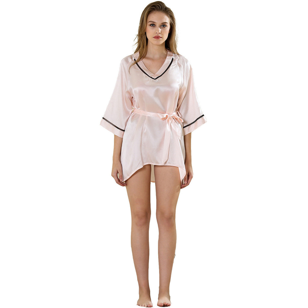 Princess hi-lo kimono sleepshirt dress 19 Momme 100% silk satin