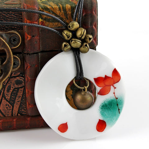 Classical hand-painted retro ceramic necklace with red lotus pendant