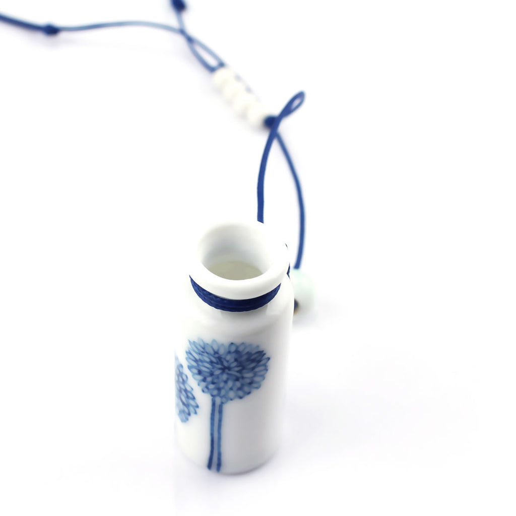 Original hand-painted ceramic necklace with sunflower on the bottle pendant