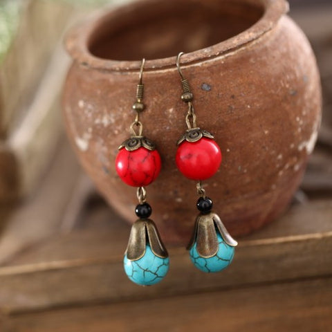 Retro long red and green turquoise earrings
