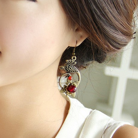 Special retro handmade rose-shaped phoenix earrings