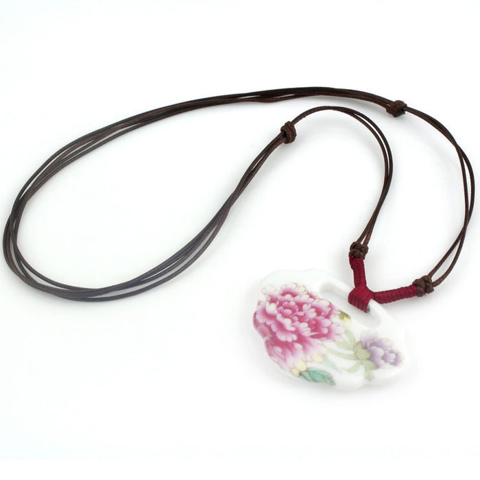 Hand painting clavicle porcelain necklace with peony pendant - cultureincart.com