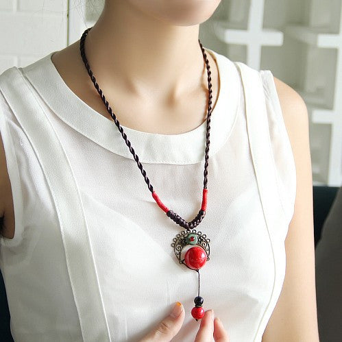 Handmade retro jewelry  drops red  long sweater chain pendant