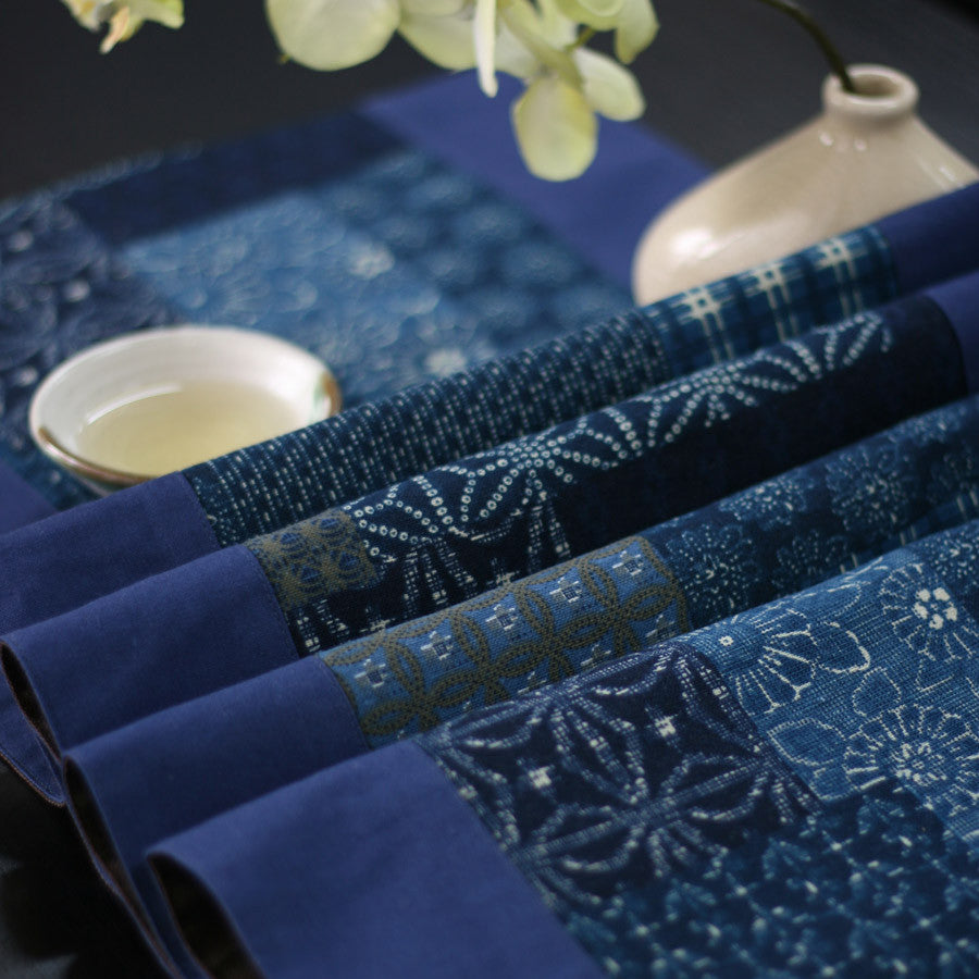Fashionable ink painting blue printed table runner
