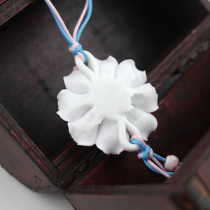 Handmade peony pattern porcelain necklace as sweater decoration - cultureincart.com