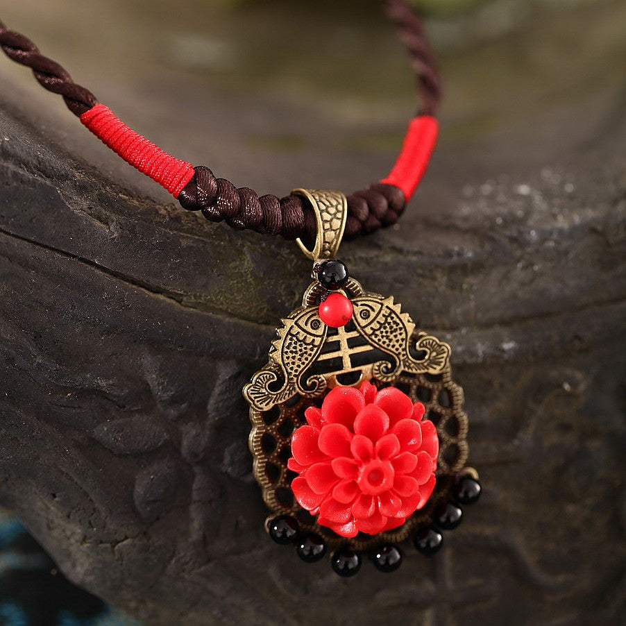 Classical red-lacquer gold chrysanthemum clavicular Necklace - cultureincart.com