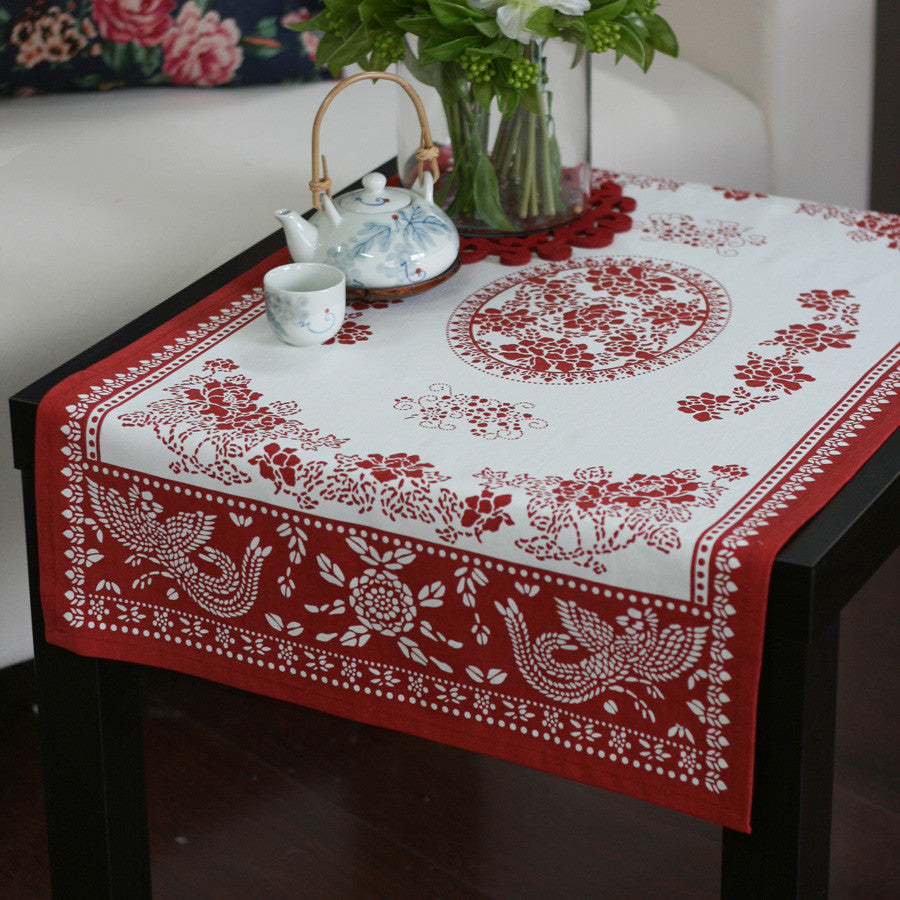Countryside printed style fabric linens tablecloth-The attraction of peony to birds