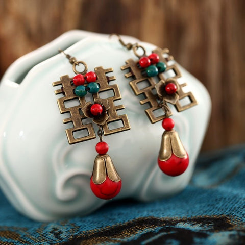 Festive original folk style retro ornament female long exaggerate earring