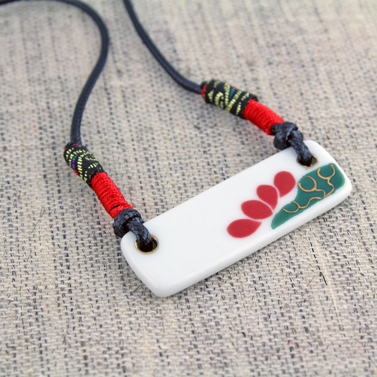 Handmade colorful ceamic necklace as sweater decoration