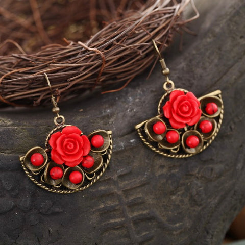 National  style exaggerated retro fan-shaped red rose earrings