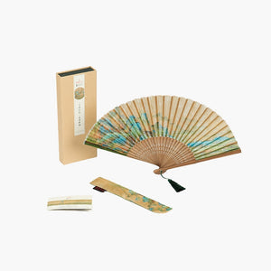 Folding Fan of Mulberry Silk with Mountain and River Pattern - cultureincart.com
