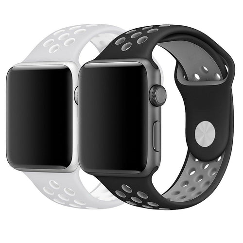 Apple Watch Band 42mm, Breathable Soft Silicone Replacement Band for 42MM Apple Watch Series 3 Series 2 Series 1 - Large (2-Pack, Black/Gray, Gray/White)