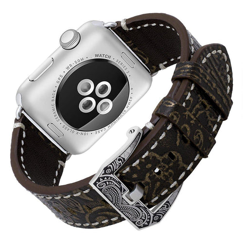 Apple Watch Bands, Genuine Cowhide Strap for 42mm Apple Watch Series 1 Series 2 with Unique Carved Buckle (42mm, Java/ Bronze)