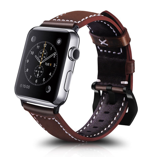 Apple Watch Bands, Iwatch 42mm Leather Replacement Strap with Stainless Steel Clasp Classic Buckle Band for Apple Watch Series 3, Series 2, Series 1 Chocolate Brown, Military Olive