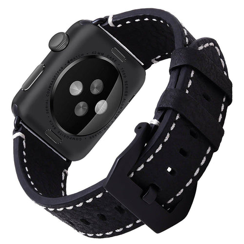 Apple Watch Bands, Apple Watch Leather Band Nature Texture Genuine Nubuck Leather Strap Replacement Bracelet for iWatch 42mm Apple Watch Series 1 Series 2 Series3, Breen, Black