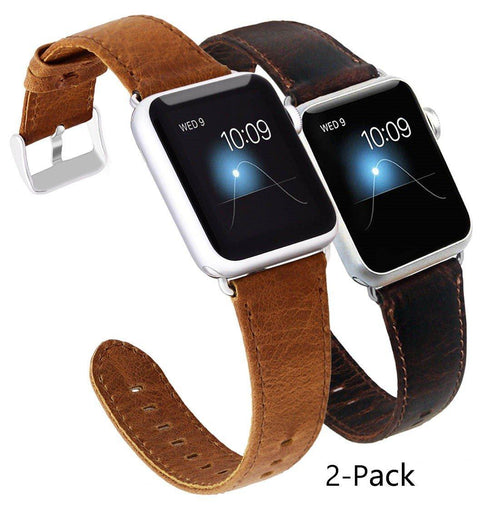 Apple Watch Band 42mm Genuine Leather Replacement Strap with Retro Crazy Horse Texture for 42mm iWatch All Versions (Pack of 2)