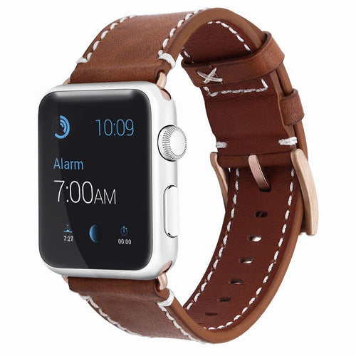 Apple Watch Bands 42mm, Apple Watch Leather Band Genuine Imported Leather Strap Replacement Bracelet for Apple Watch 42mm Apple Watch Series 3 Series 2 Series 1- Brown, Coffee