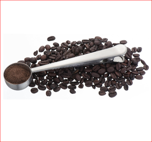 European Style Stainless Steel Coffee Scoop with Clip