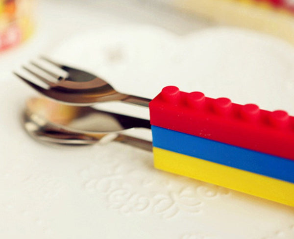 Lego Silicone Stainless Steel Cutlery Set