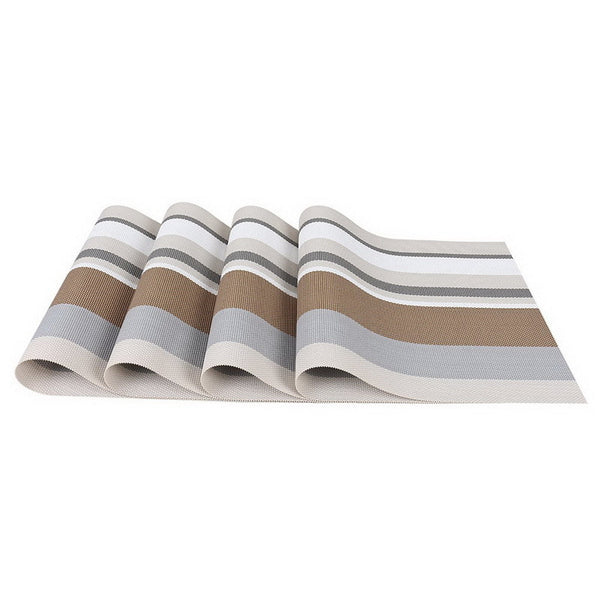 4 PCS - PVC Placemat Set Tan