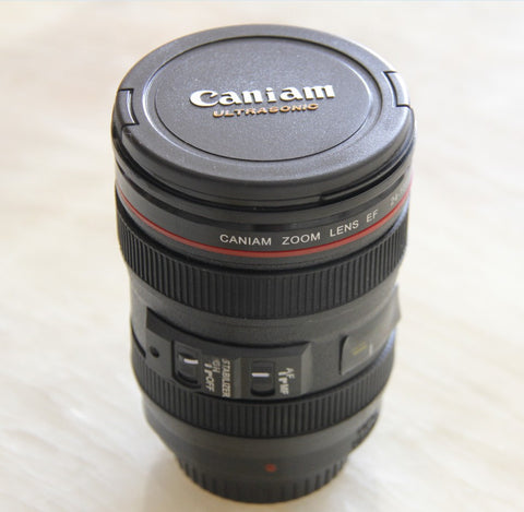 Eco-Friendly Camera Lens Coffee Mug With Lid