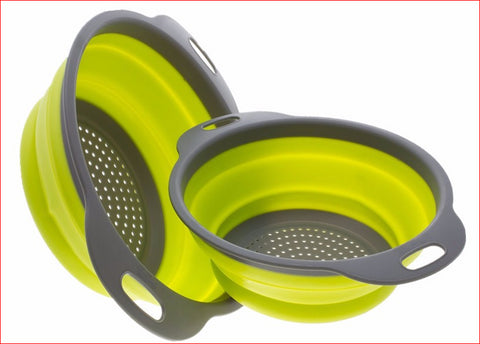 2 Piece Set of Collapsible Silicone Strainers
