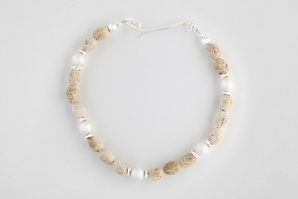 Clay, freshwater pearl & sterling silver necklace