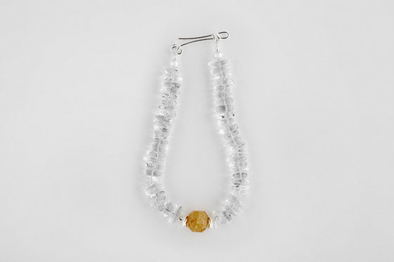 Agate, quartz & sterling silver necklace