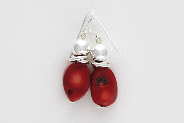 Red coral & sterling silver earrings