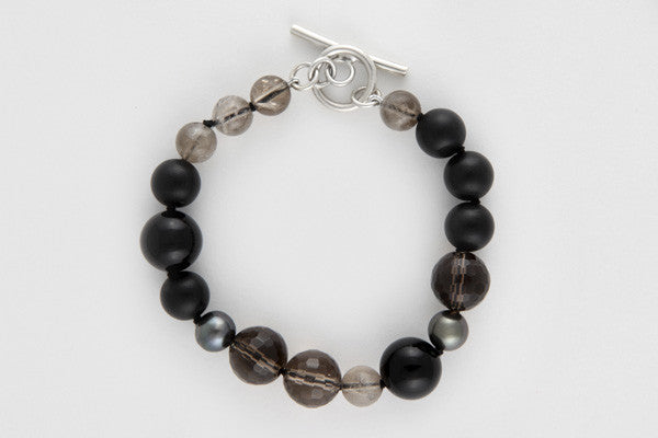 Smoky quartz, agate & akoya pearl silk-strung bracelet with sterling silver clasp