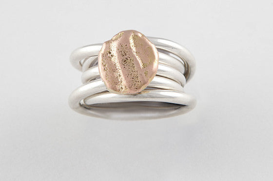 9ct rose gold & sterling silver rings (set of 3)