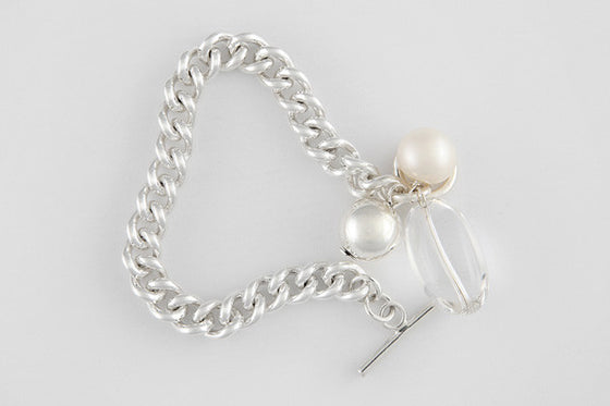 Freshwater pearl, quartz & sterling silver antique chain bracelet