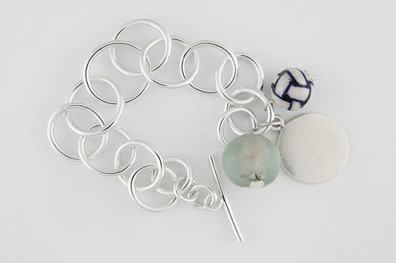 Glass, ceramic & sterling silver bracelet