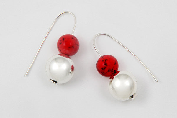 Red howlite & sterling silver earrings