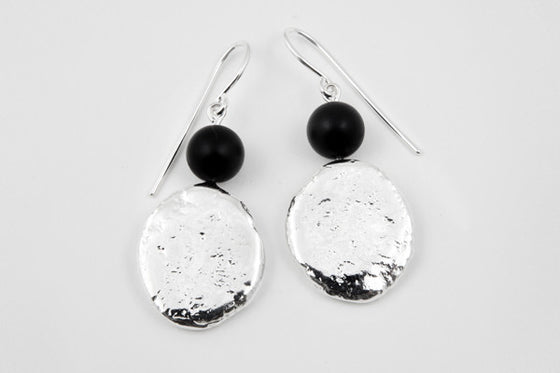 Black agate & sterling silver earrings